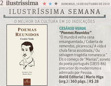 Poemas Reunidos, de Cesário Verde, na Ilustríssima