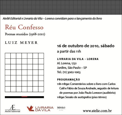 Lançamento de Réu Confesso, de Luiz Meyer, na Livraria da Vila
