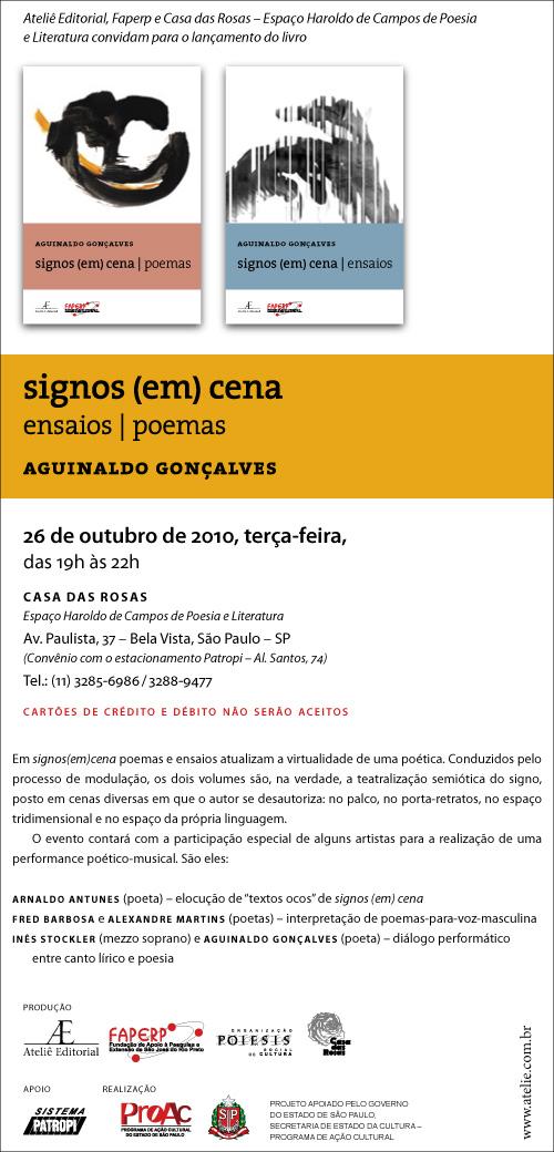 Convite para lançamento de signos (em) cena, de Aguinaldo Gonçalves, na Casa das Rosas