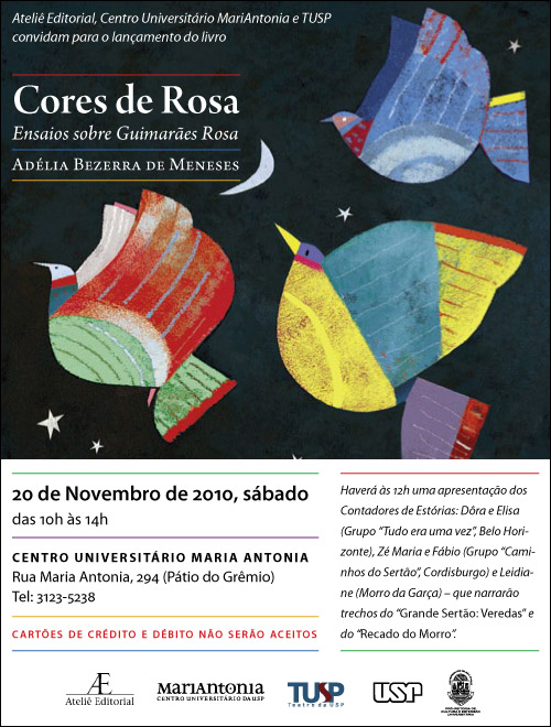 Lançamento de Cores de Rosa, de Adélia Bezerra de Meneses
