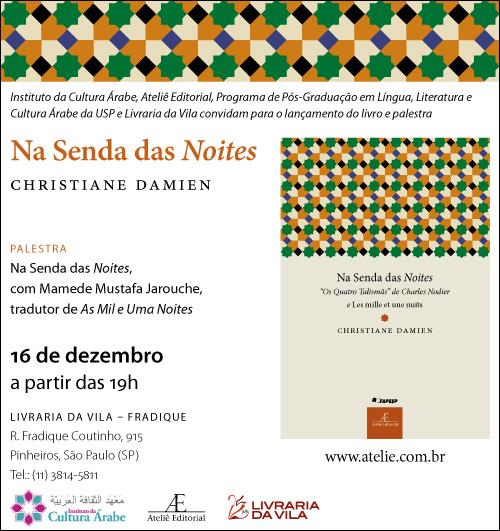Lançamento de Na Senda das Noites, de Christiane Damien