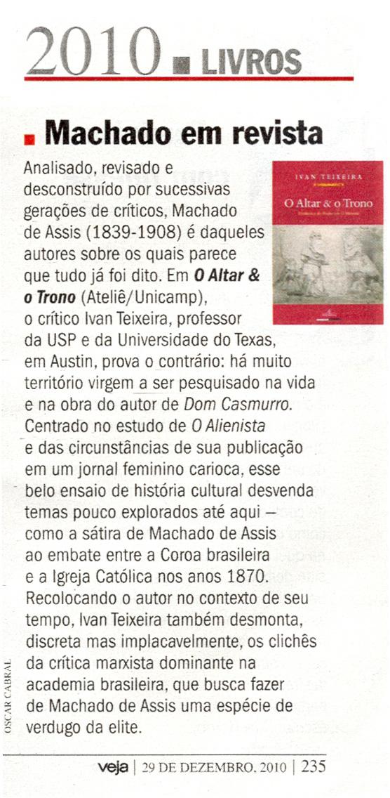 O Altar e o Trono entre os 10 melhores livros de 2010