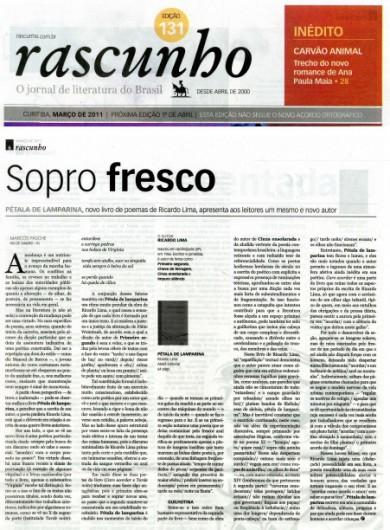 Resenha do livro Pétala de Lamparina, de Ricardo Lima, no Jornal Rascunho