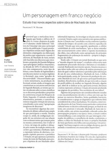 Resenha do livro O Altar e o Trono, de Ivan Teixeira, na Revista Pesquisa FAPESP