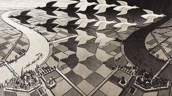 "Obra de Escher que sera exposta na mostra ""O Mundo Mágico de Escher"""
