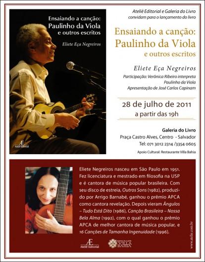 """Lançamento """"Ensaiando a Canção"""", dia 28/7 em Salvador"""