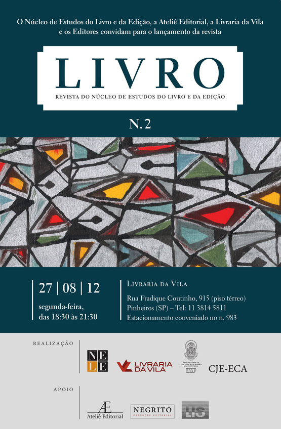 Lançamento de Livro n.2 – Revista do NELE, na Livraria da Vila
