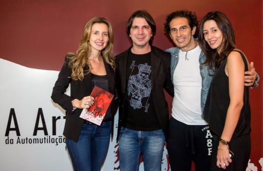 A jornalista Giovanna Scrimini, com Felipe Lion, o empresário Gabriel Scrimini e a RP Alessandra Vilhena
